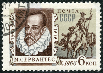 USSR - CIRCA 1966: A stamp printed in USSR shows portrait of Miguel de Cervantes Saavedra (1547-1616), Spanish writer, and Don Quixote, circa 1966